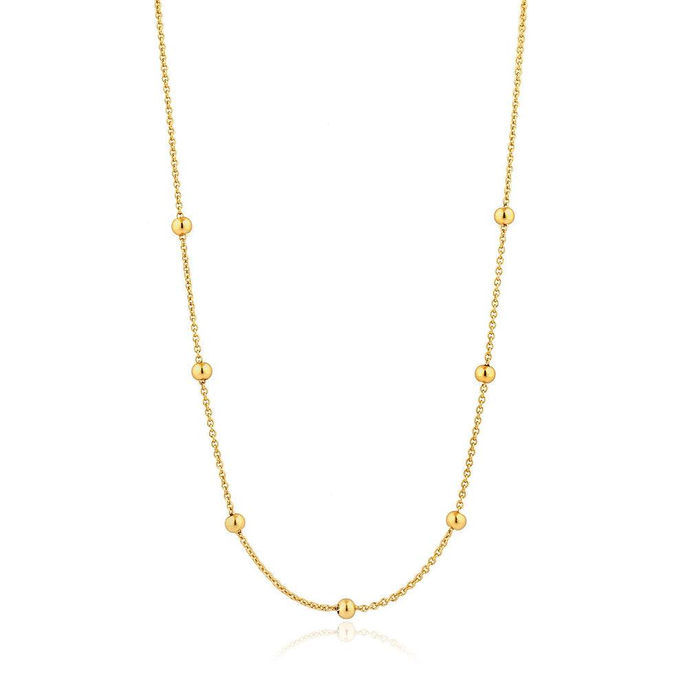 Gold Orbit Beaded Necklace