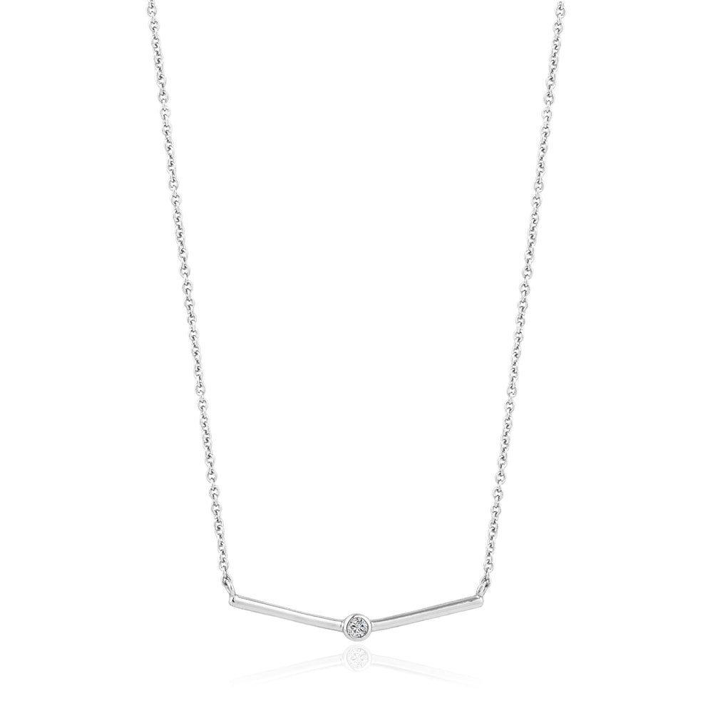 Silver Shimmer Single Stud Necklace