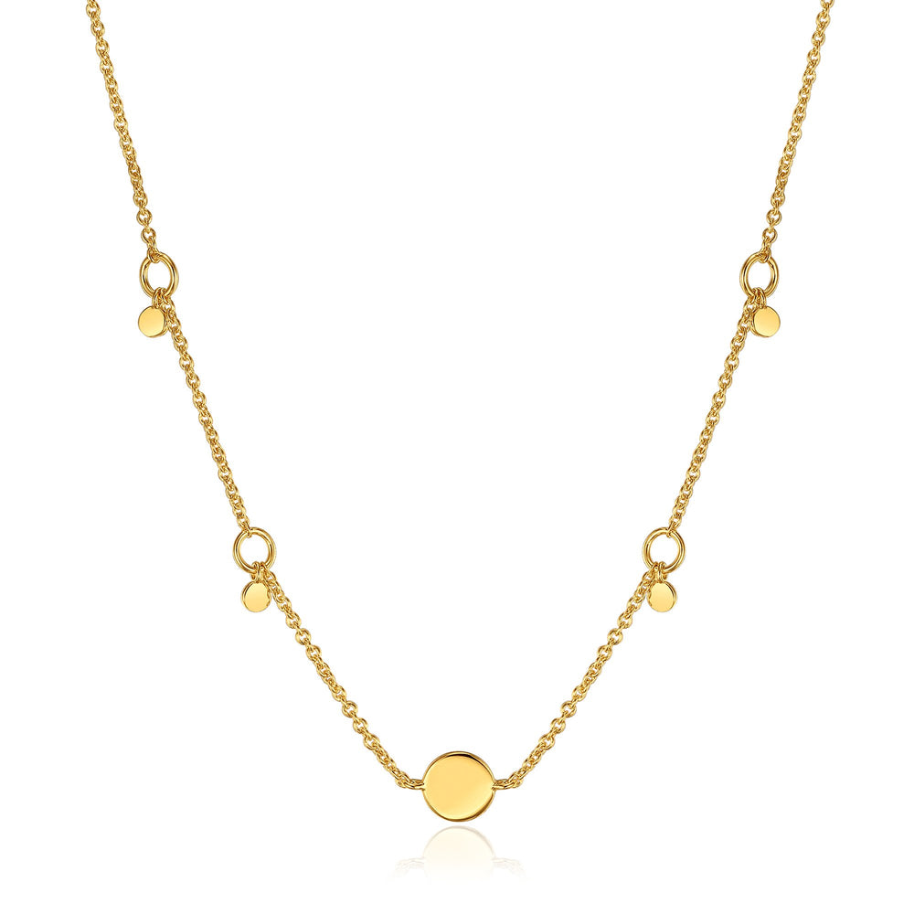 Gold Geometry Drop Discs Necklace