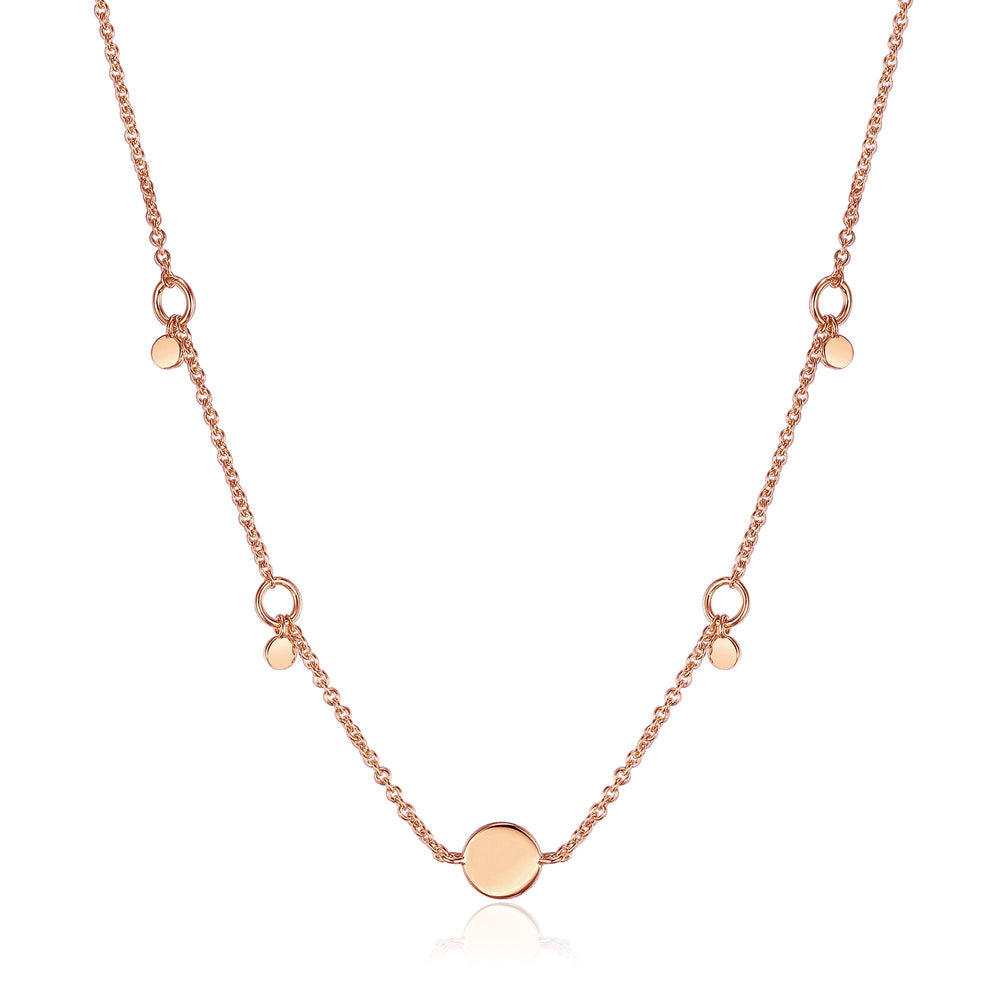 Rose Gold Geometry Drop Discs Necklace