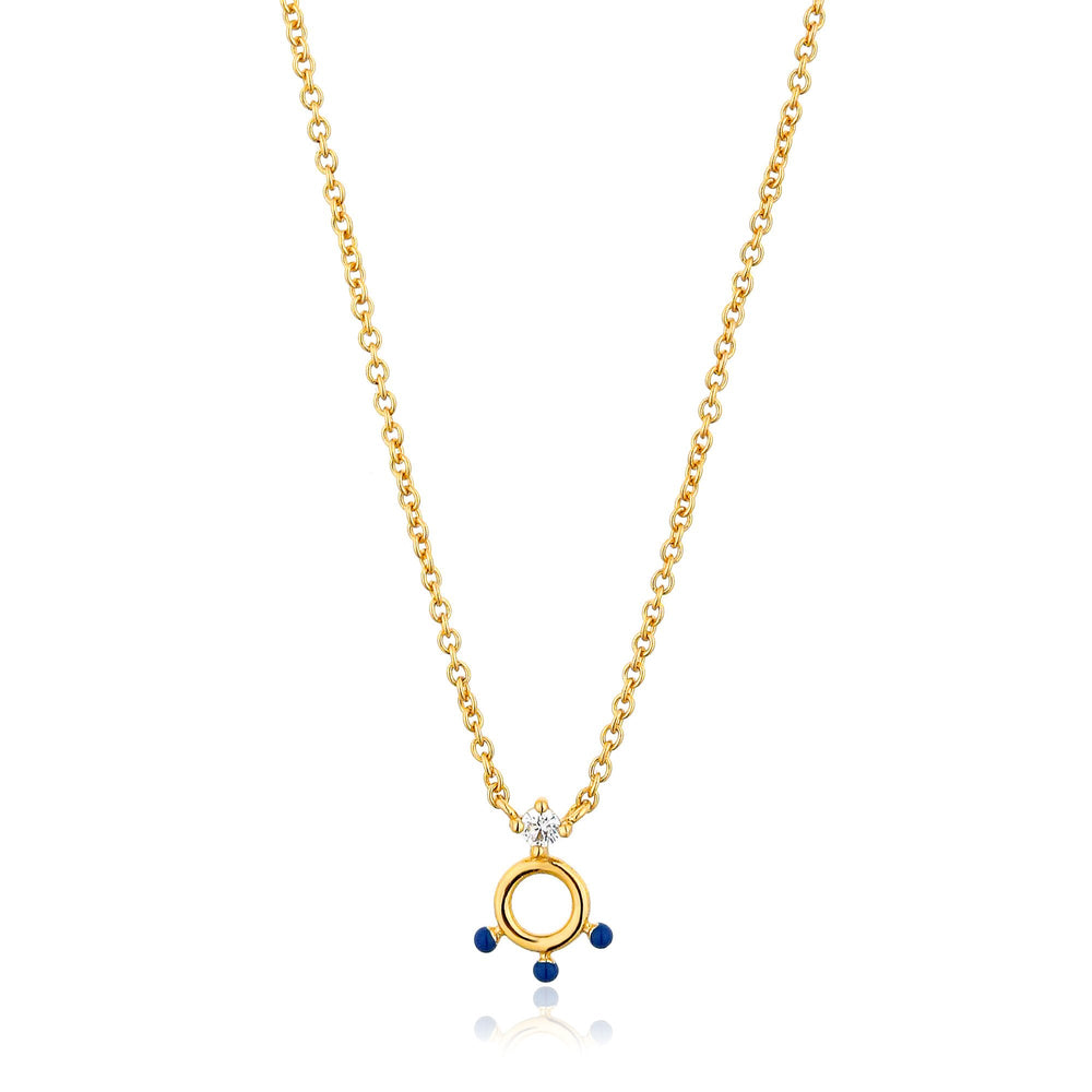 Gold Dotted Circle Pendant Necklace