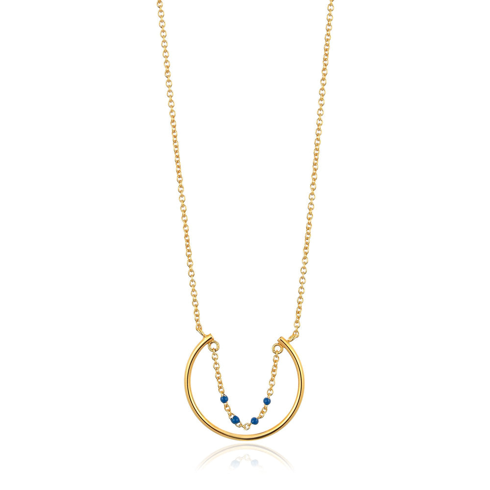 Gold Dotted Circle Necklace