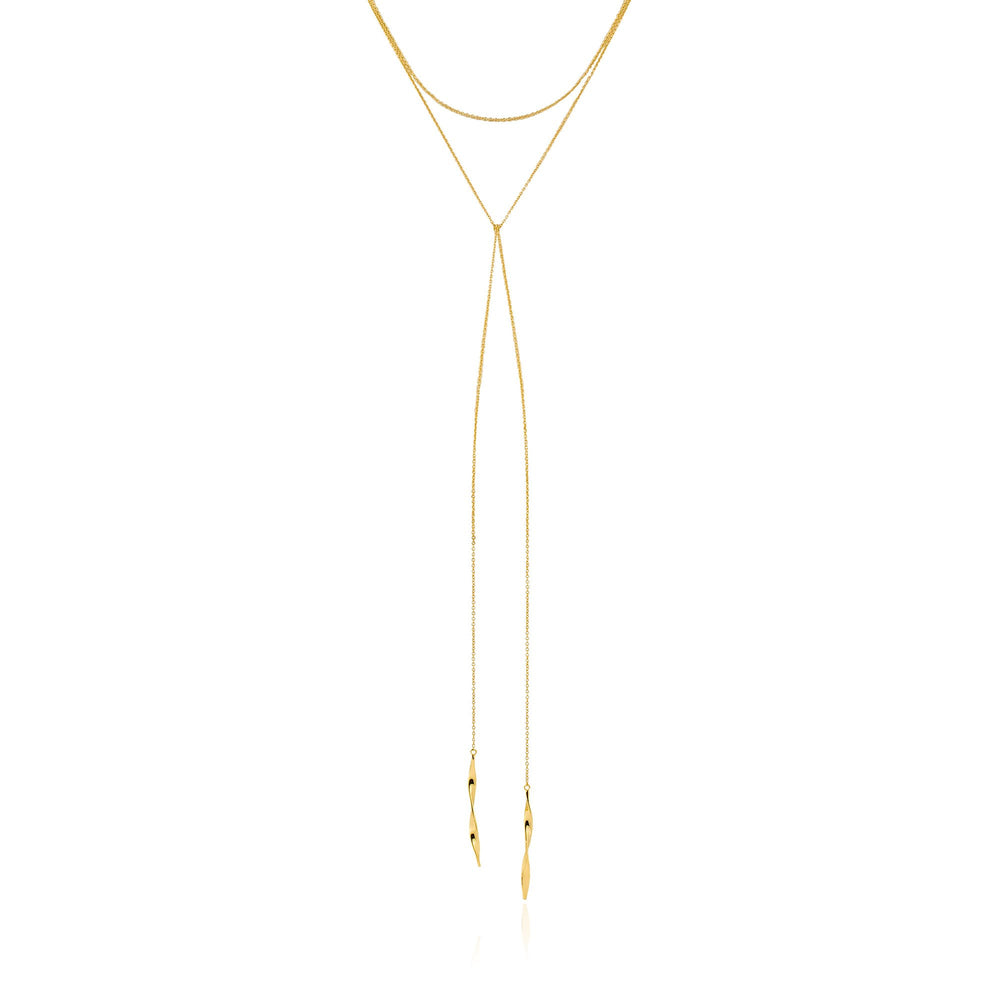 Gold Helix Lariat Necklace