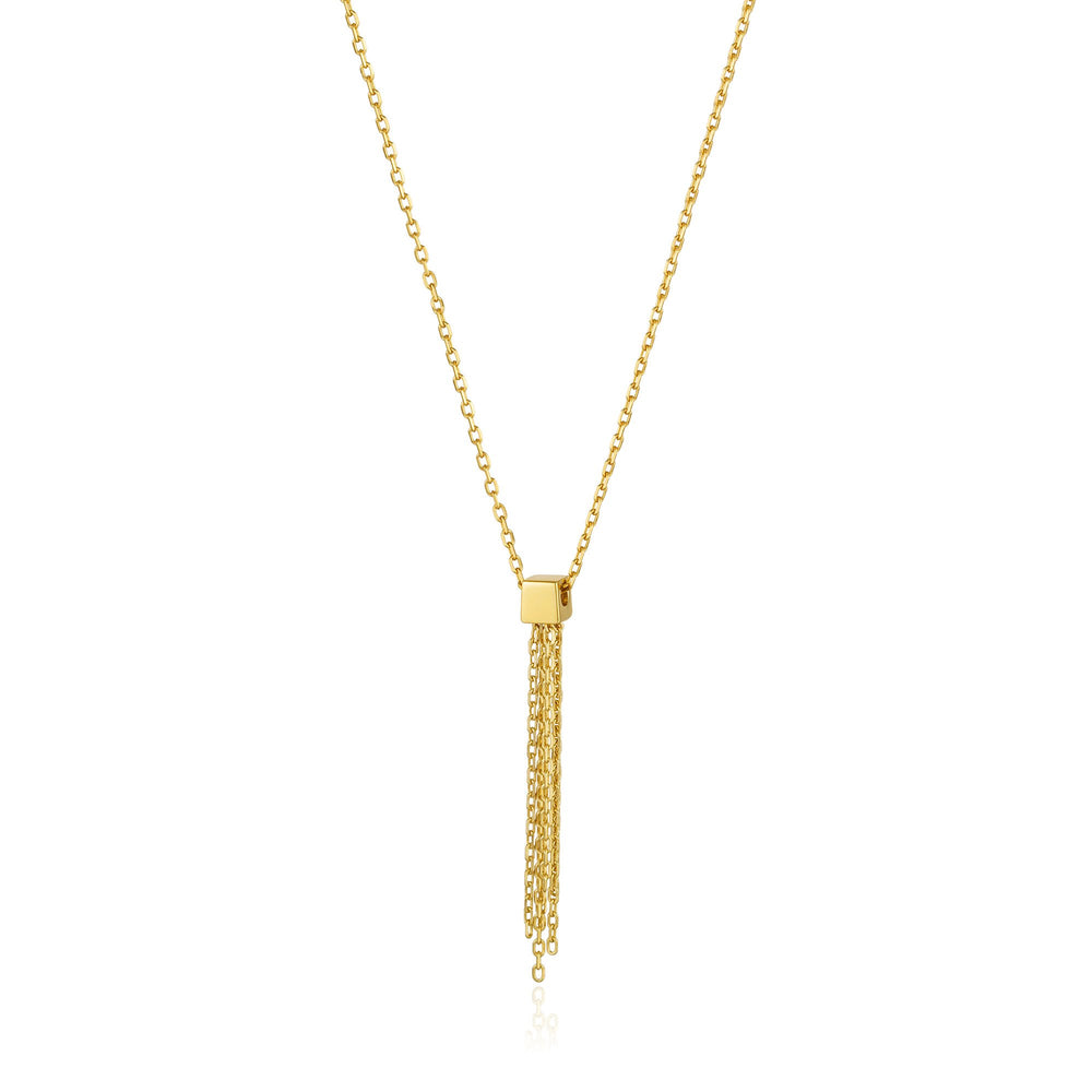 Gold Tassel Drop Necklace