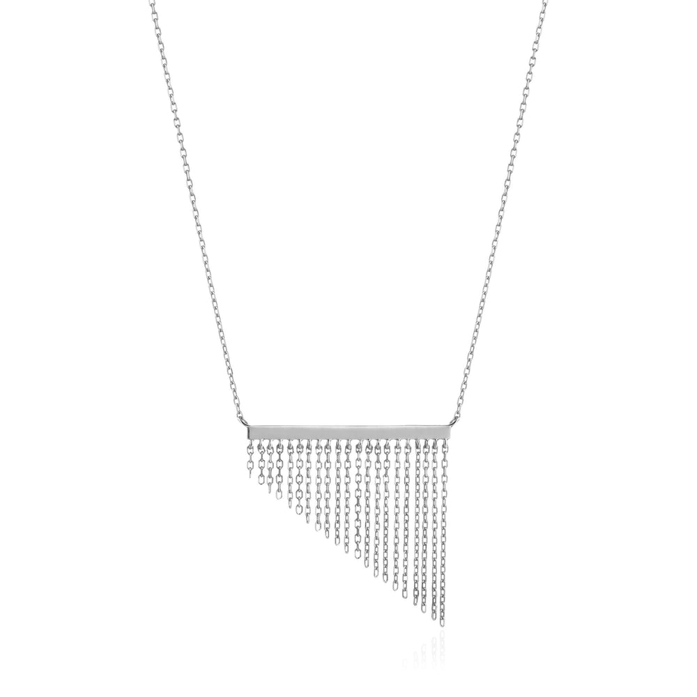 Silver Fringe Fall Necklace