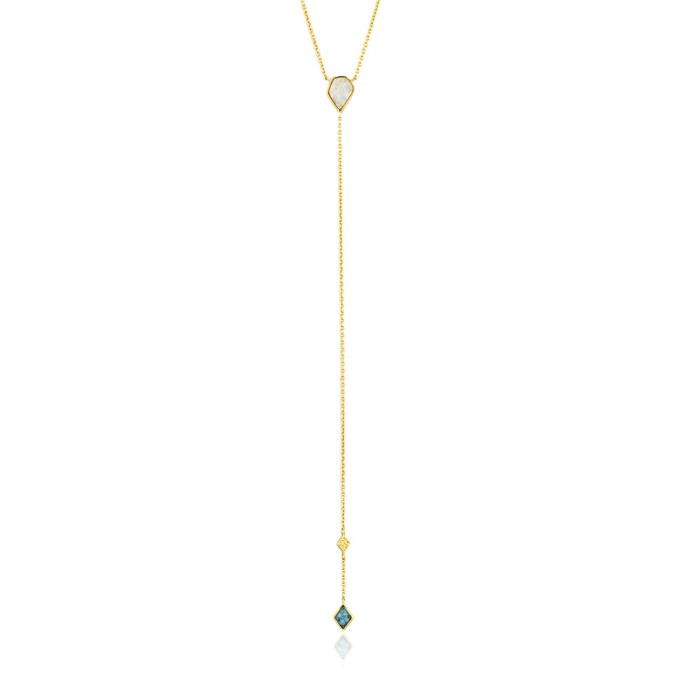 Turquoise and Opal Colour Gold Y Necklace
