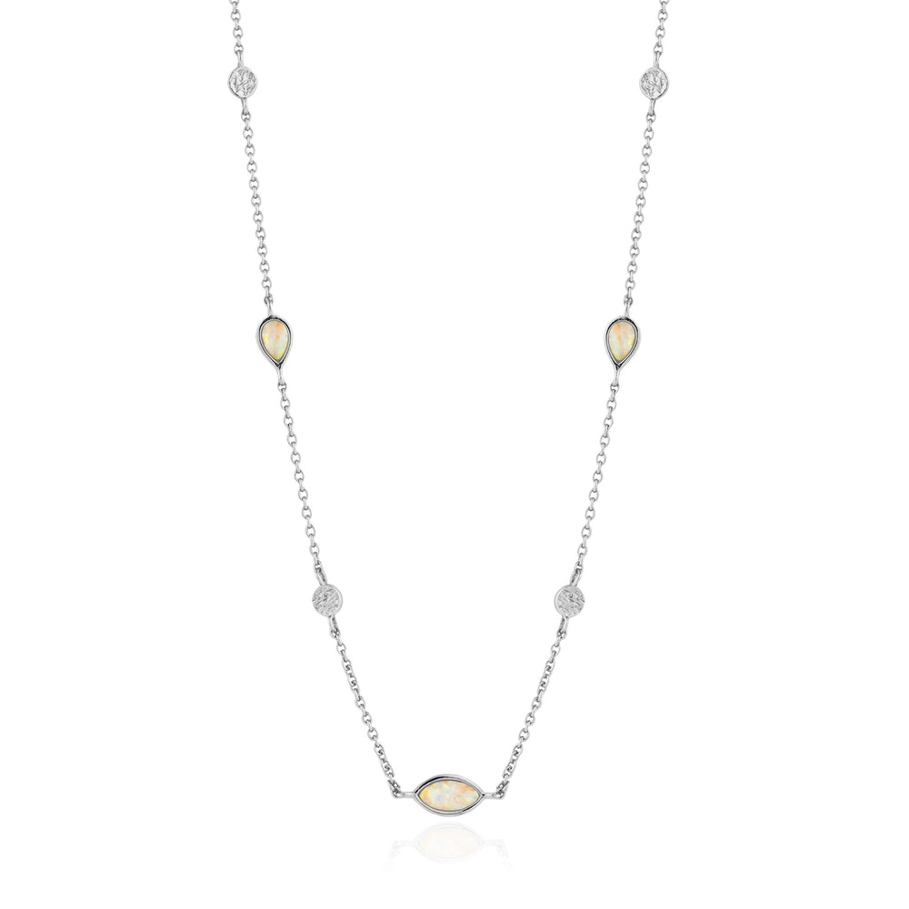 Opal Colour Silver Necklace