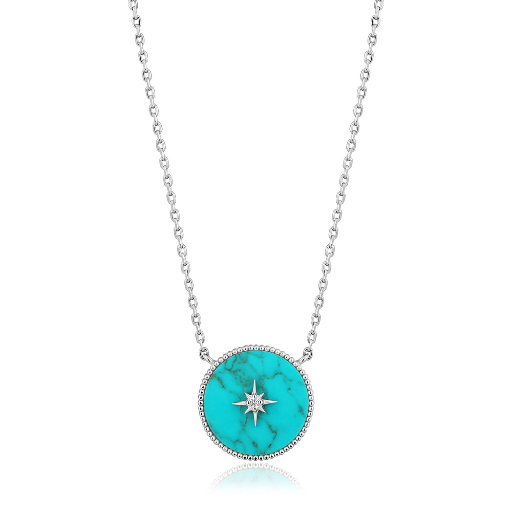 Load image into Gallery viewer, Silver Turquoise Emblem Necklace