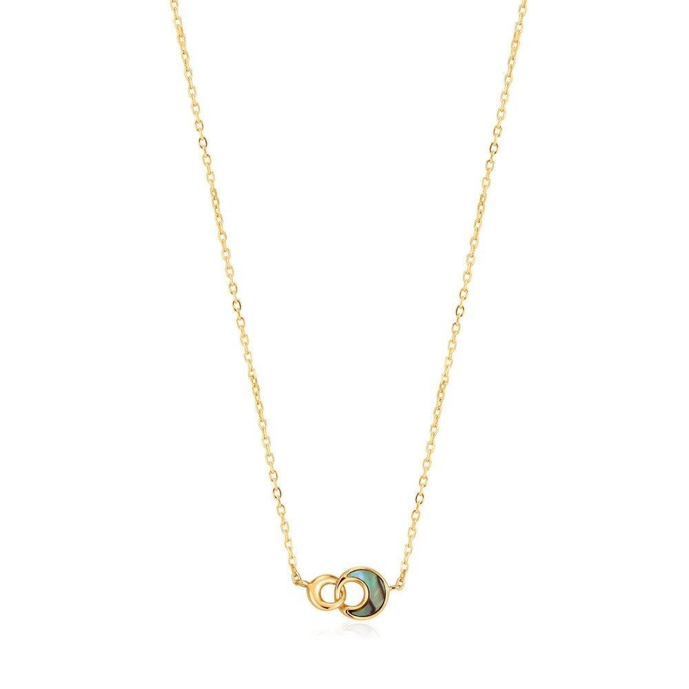 Gold Tidal Abalone Crescent Link Necklace