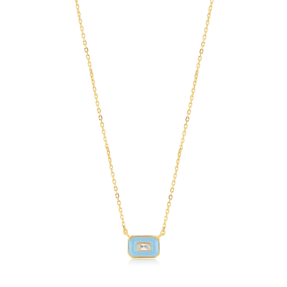 Powder Blue Enamel Emblem Gold Necklace