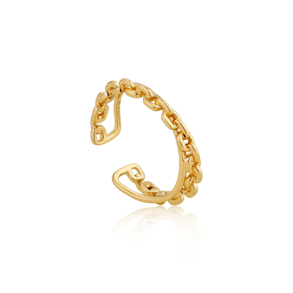 Gold Chain Double Crossover Adjustable Ring