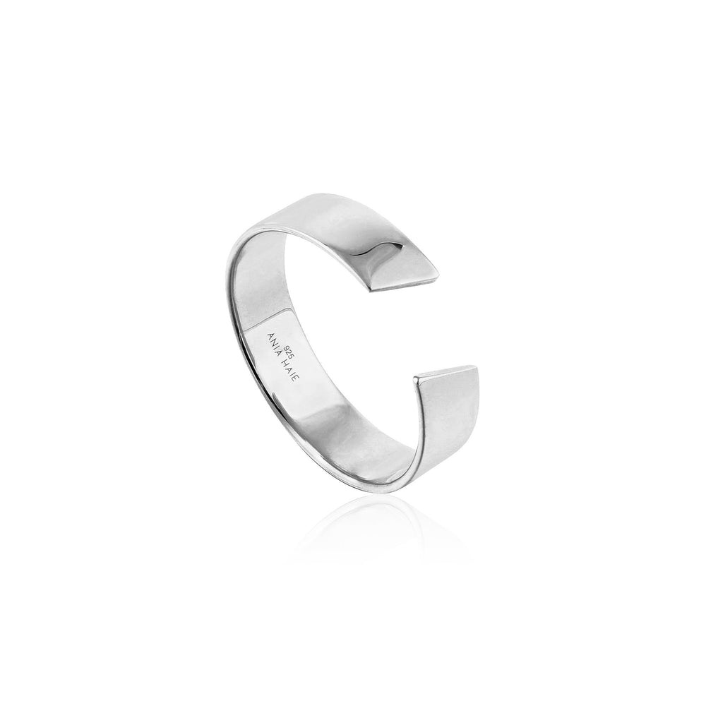 Silver Geometry Wide Adjustable Ring