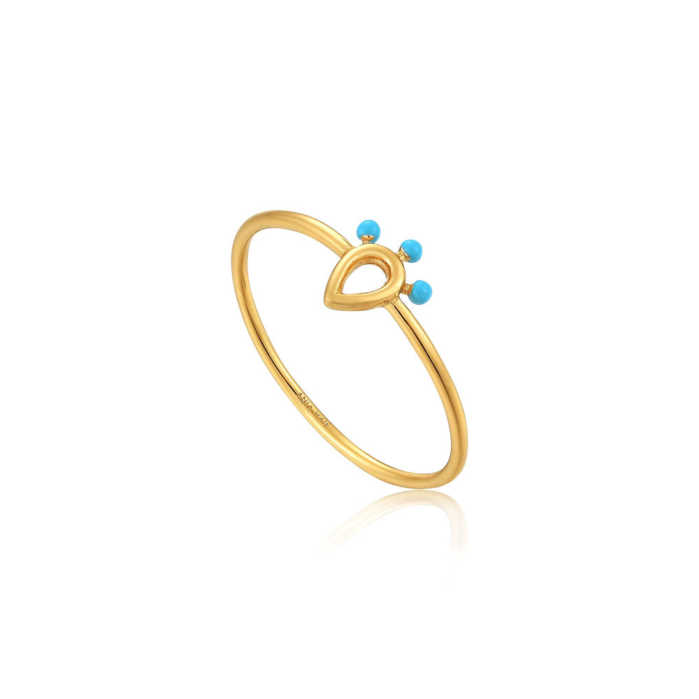 Gold Dotted Raindrop Ring