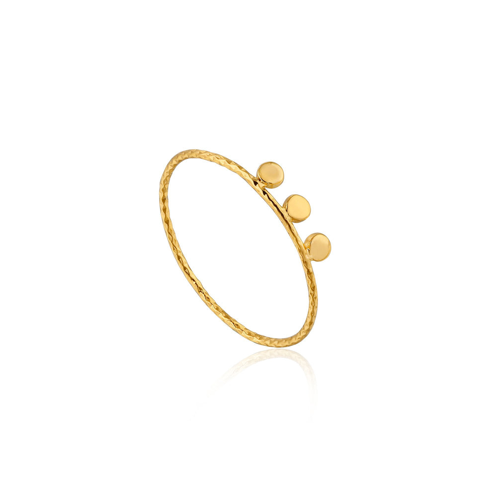 Gold Texture Triple Disc Ring