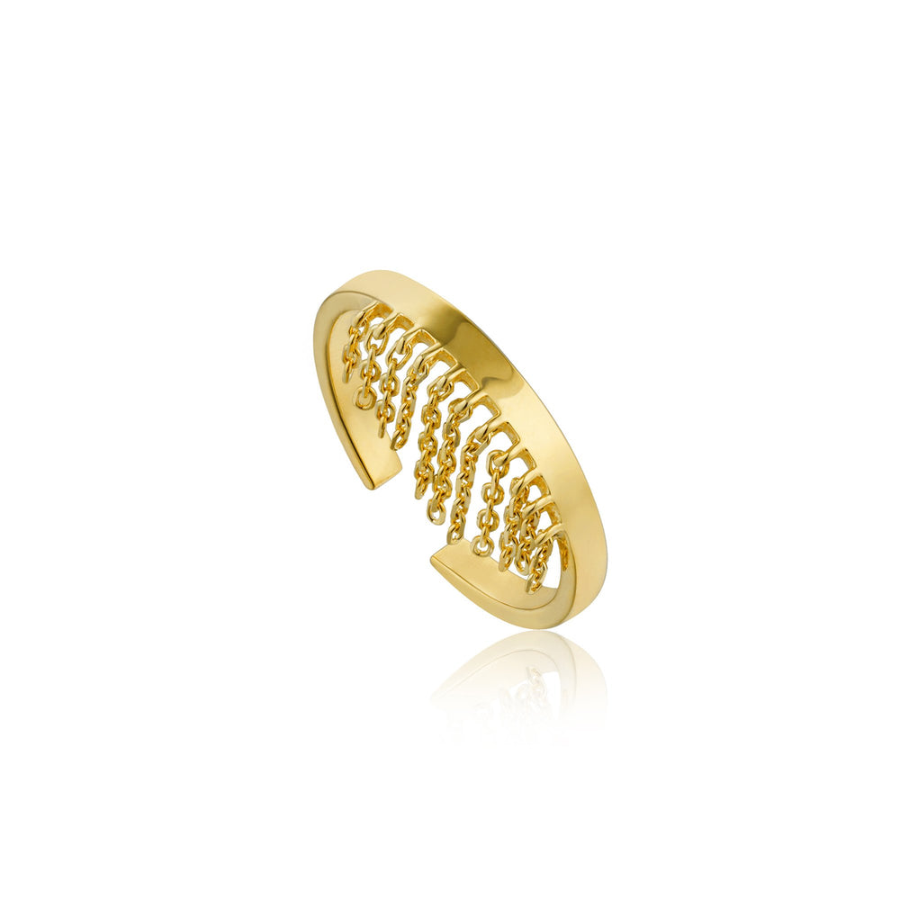 Gold Fringe Fall Adjustable Ring