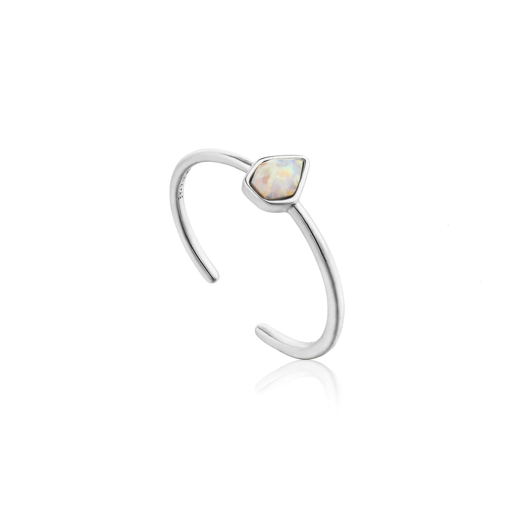 Opal Colour Adjustable Silver Ring