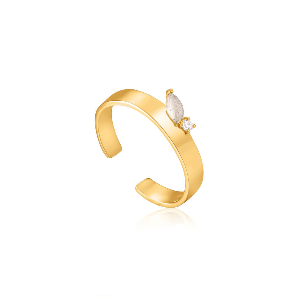 Gold Midnight Thick Adjustable Ring