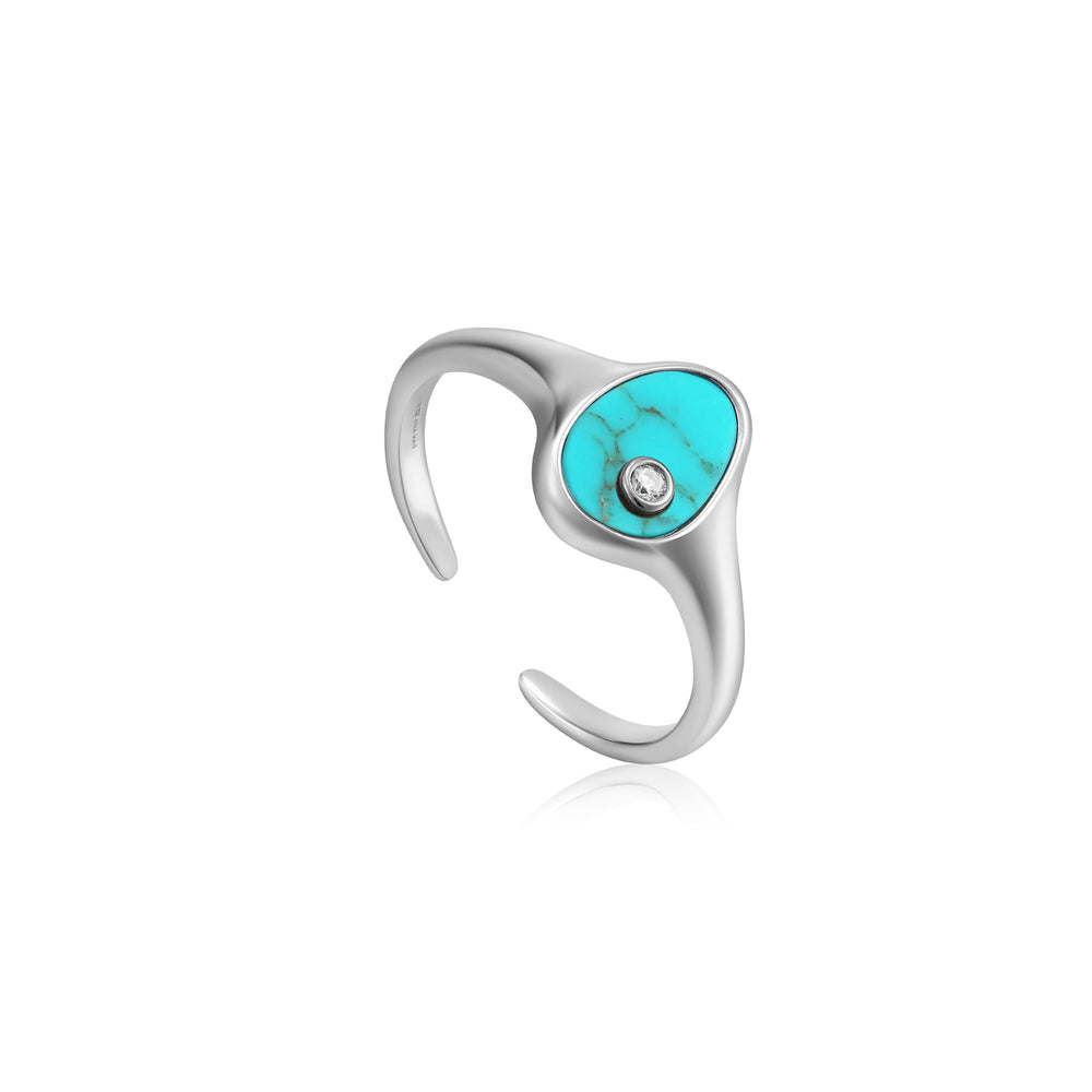 Silver Tidal Turquoise Adjustable Signet Ring