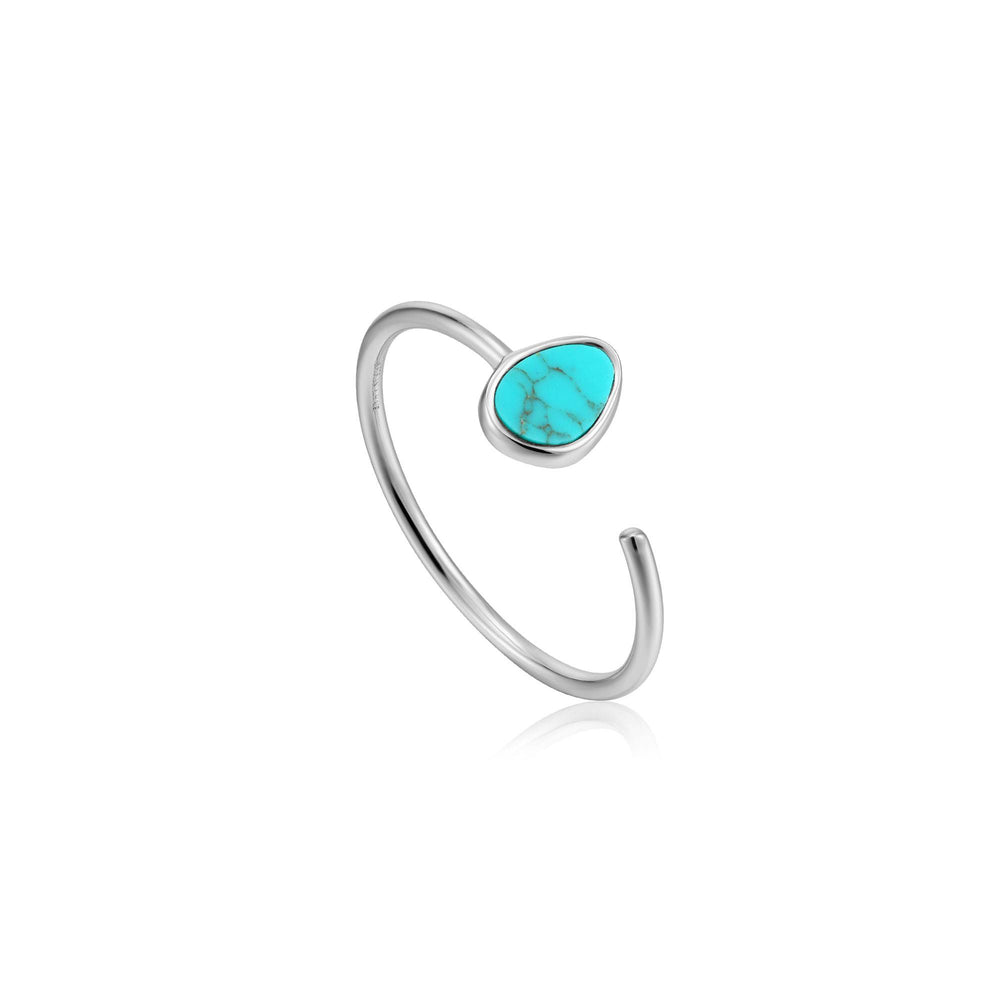 Silver Tidal Turquoise Adjustable Ring