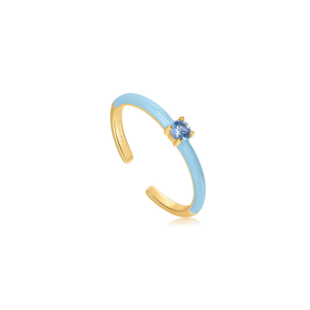 Load image into Gallery viewer, Powder Blue Enamel Gold Adjustable Ring