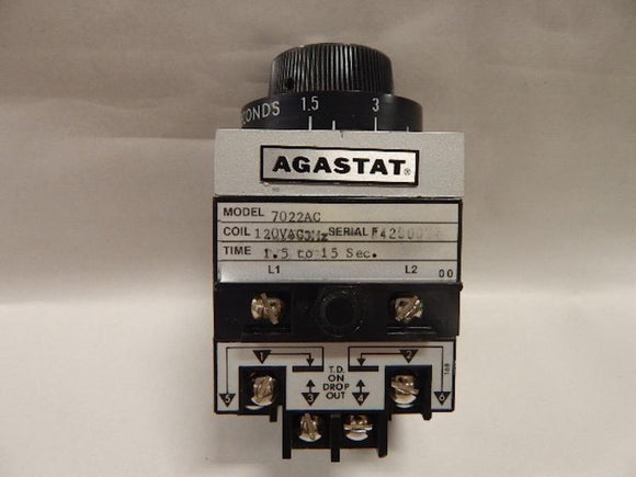 AGASTAT   7022AC     Time Delay Relay 120VAC 15 - 15 seconds  TE Connectivity