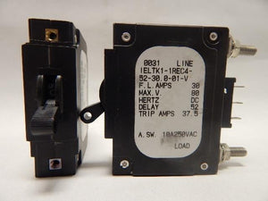 Airpax   IELTK1-1REC4-52-300-01-V     1 Pole 30 Amp w Auxillary Contacts Circuit Breaker
