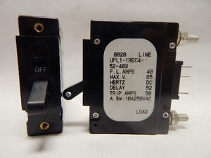 Airpax   UPL1-1REC4-52-403     1 Pole 40 Amp 65VDC 250VAC w Auxillary Contacts Circuit Breaker