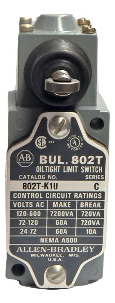 Allen Bradley   802T-K1U      Oiltight Limit Switch 1NO 1NC Horizontal Roller Spring Return