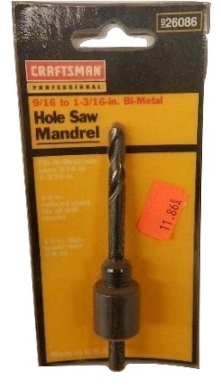 Craftsman   9-26086     HOLE SAW MANDREL 916 TO 1-316