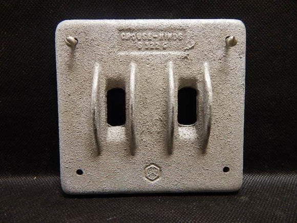 Crouse Hinds   S322G     2 Gang Switch Cover with Guard FS Malleable Iron