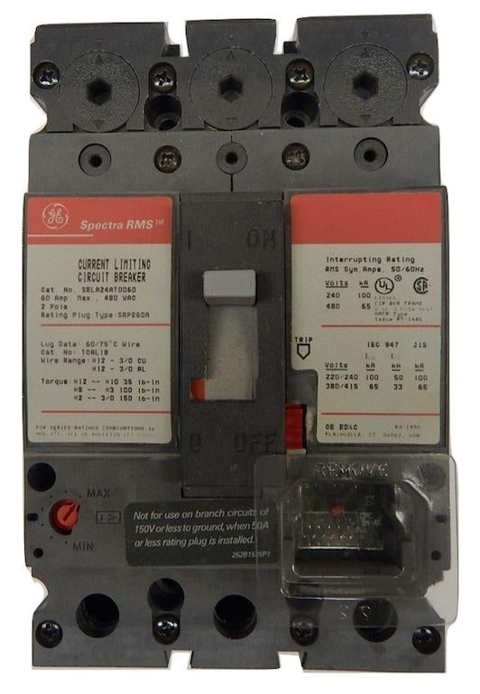 General Electric   SELA24AT0060     2 Pole 480V Frame Only Comes With No Rating Plug