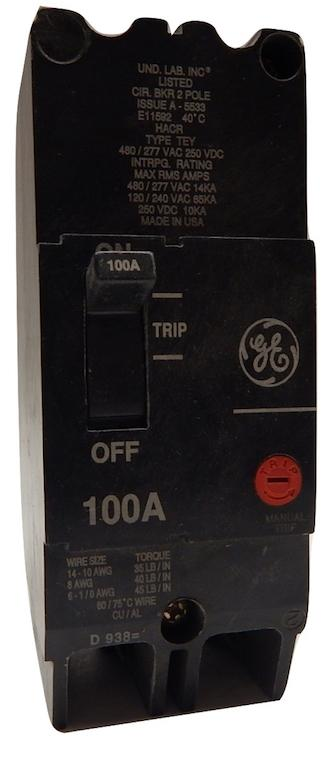 General_Electric___TEY2100_____2_Pole_100_Amp_480277VAC_250VDC_Molded_Case_GE_Circuit_Breaker