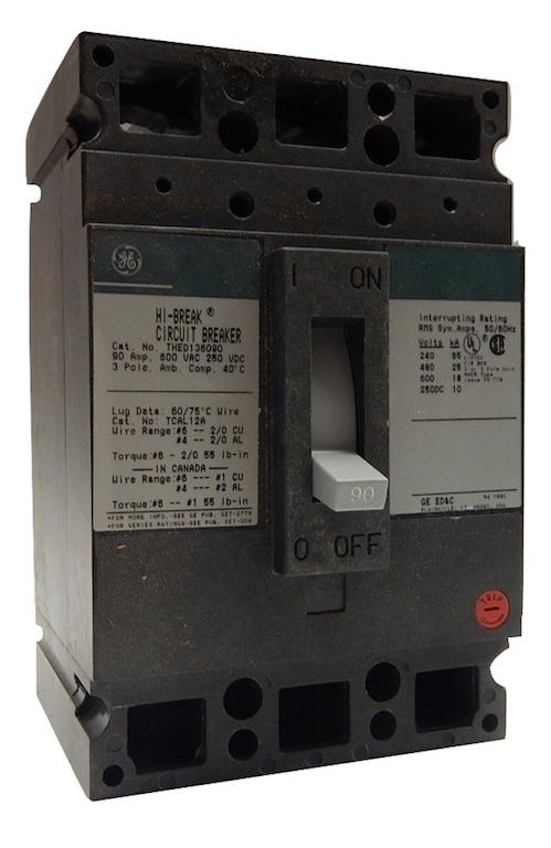 General_Electric___THED136090WL_____3_Pole_90_Amp_600V_Molded_Case_Circuit_Breaker