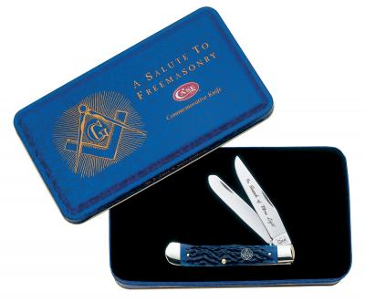 WR CASE  01058    MASONIC BLUE BONE TRAPPER W GIFT TIN 6254 SS