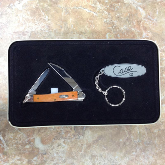WR CASE  06324    CHESTNUT MINI COPPERHEAD WITH KEY RING GIFT SET 62109WR SS