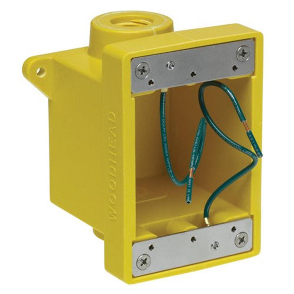 Woodhead   453CR     FD Yellow Glass-Filled Polyester Box  with 2 34  Threaded Knock-out Opening