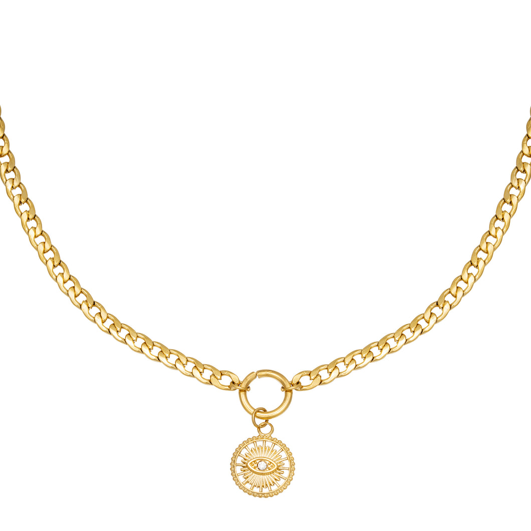 Sundial Necklace - Gold, Silver