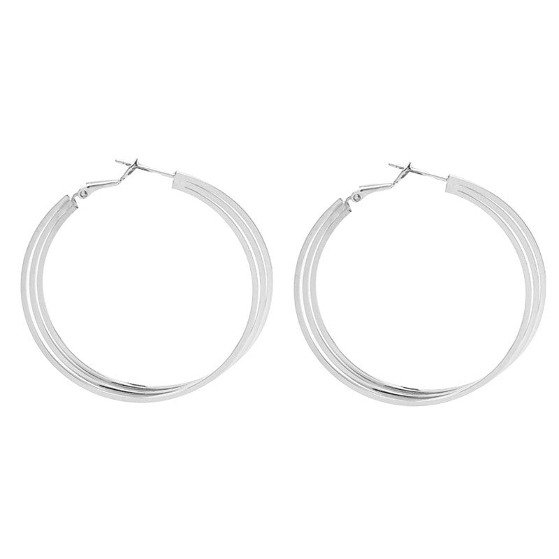 Earrings Triple Hoops Silver