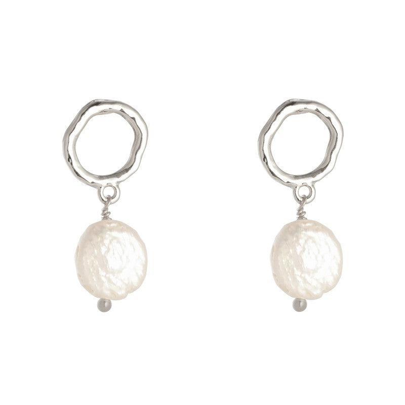 Earrings Shiny Pearl - Silver