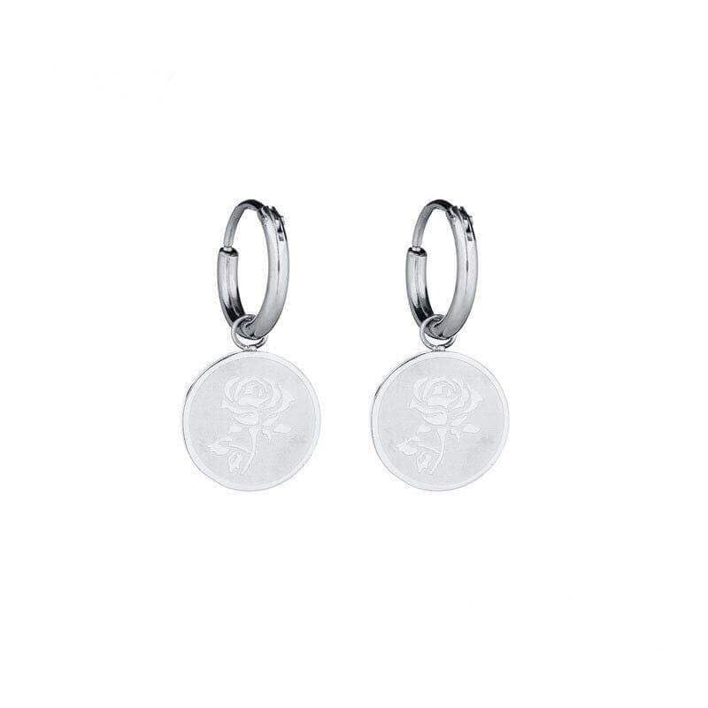 Coin Rose Earrings - Silver
