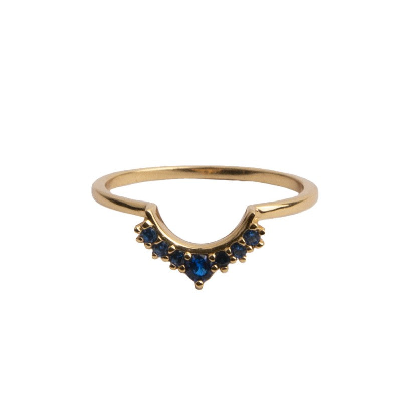 Ring Crown Blauw/Goud