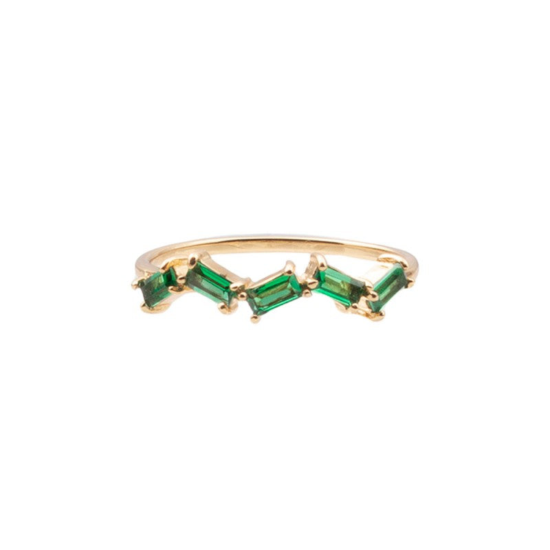 Ring Green Zigzag Gold