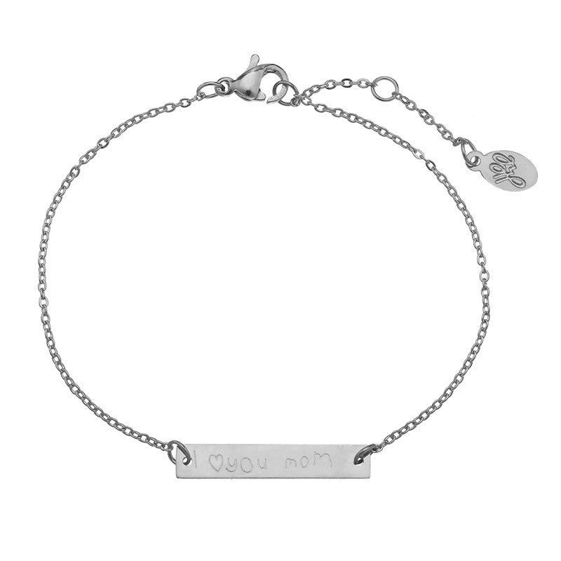 I Love You Mom Armband - Zilver, Roze Goud