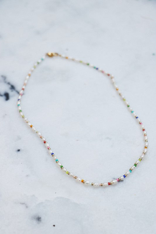 Rainbow Pearly Beaded Necklace