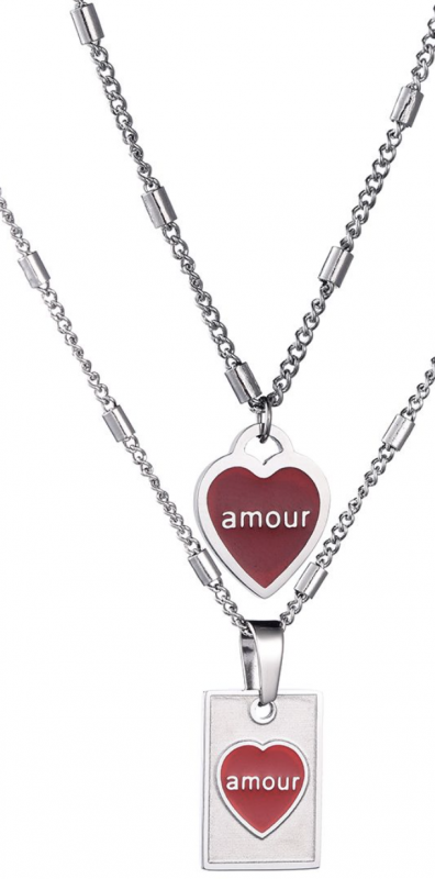 Necklace Double Amour - Silver, Gold
