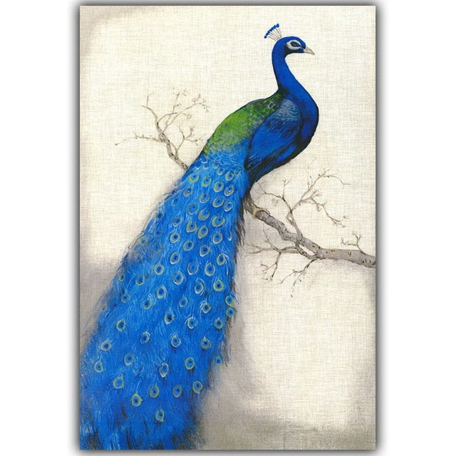 Retro Blue Peacock