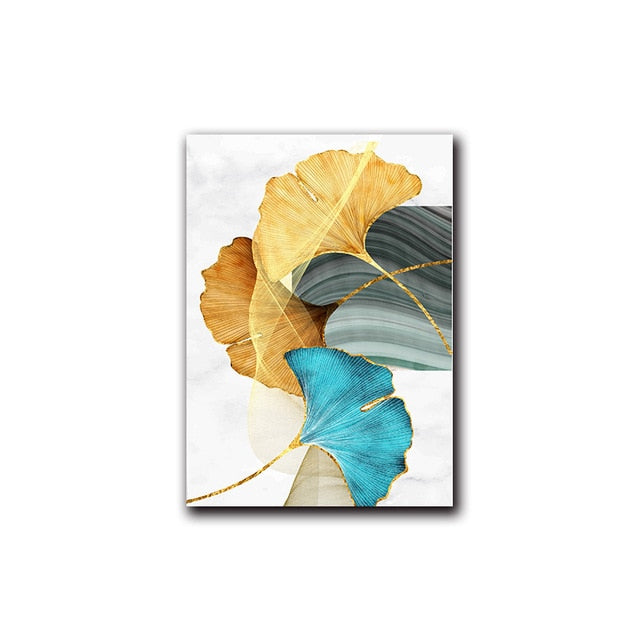 Abstract Blue Green Gold Leaf