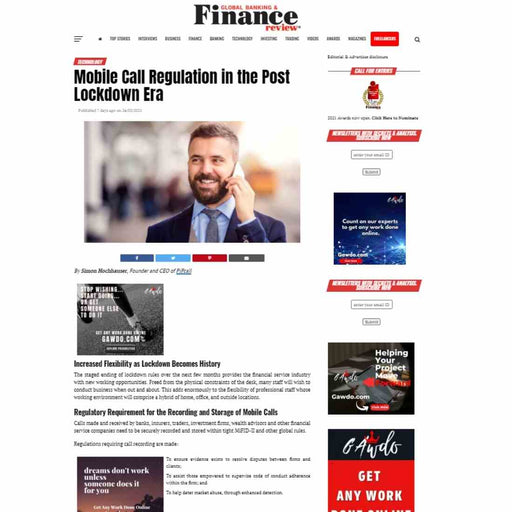 Advertorial placement on Global Banking & Finance Review Website and Social Media Promotions