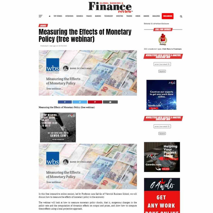 Event listing on Global Banking & Finance Review, Email blast & Social Media Blast