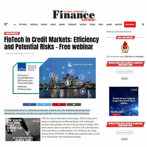 Event listing on Global Banking & Finance Review and Email blast